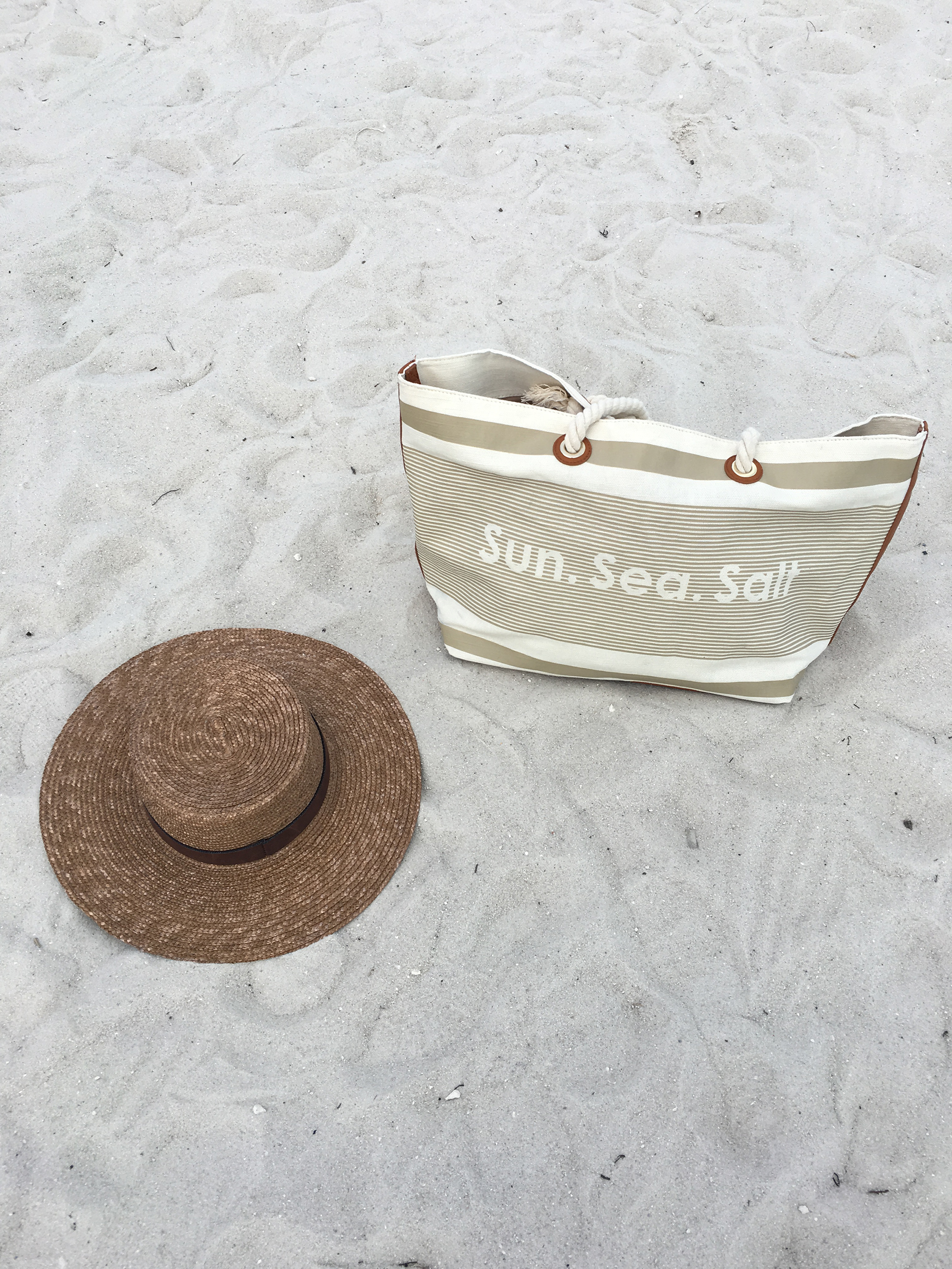 Beach Bag Straw Hat Blogger Style