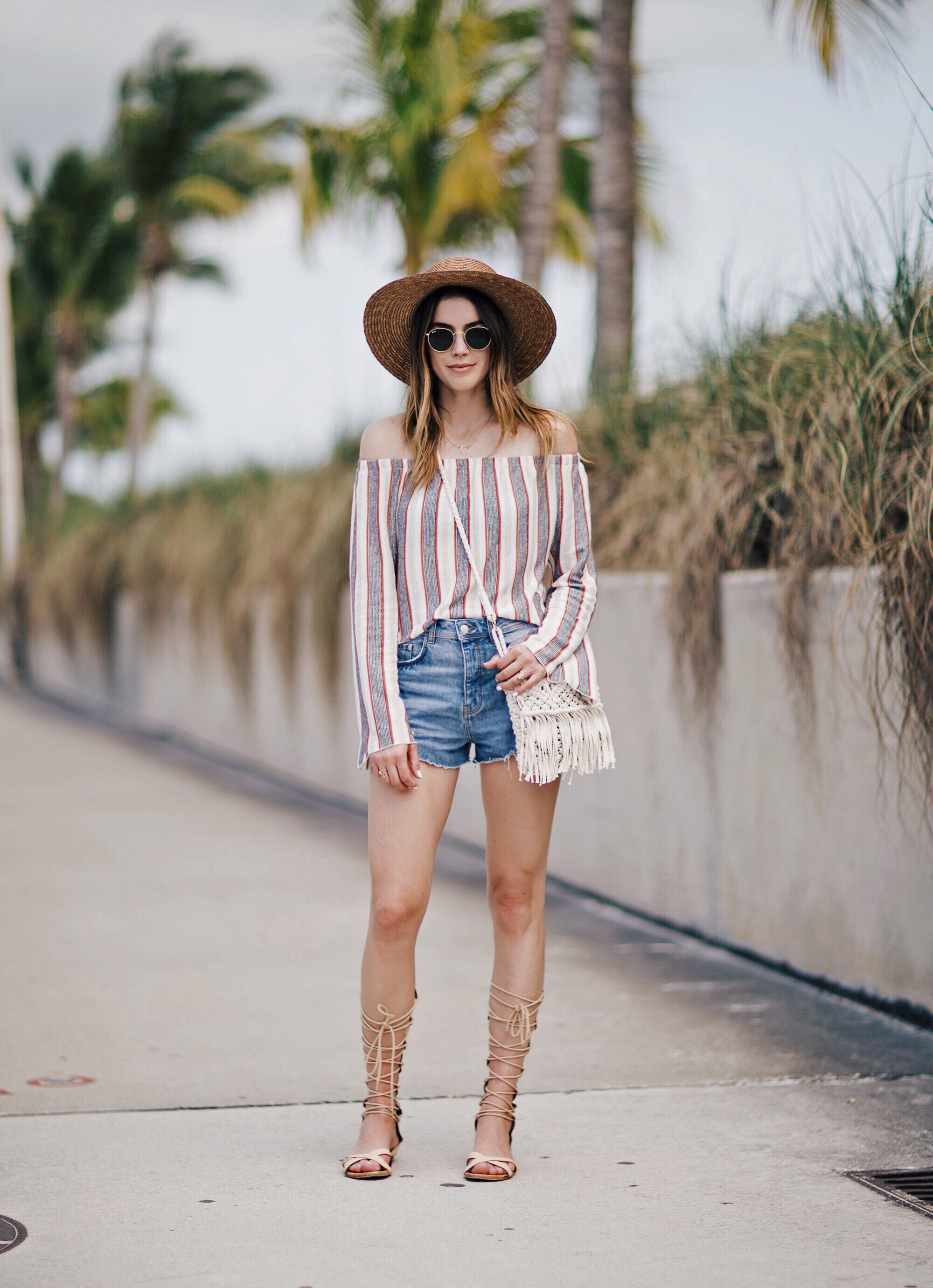 Forever 21 Straw Hat Denim Shorts Key West