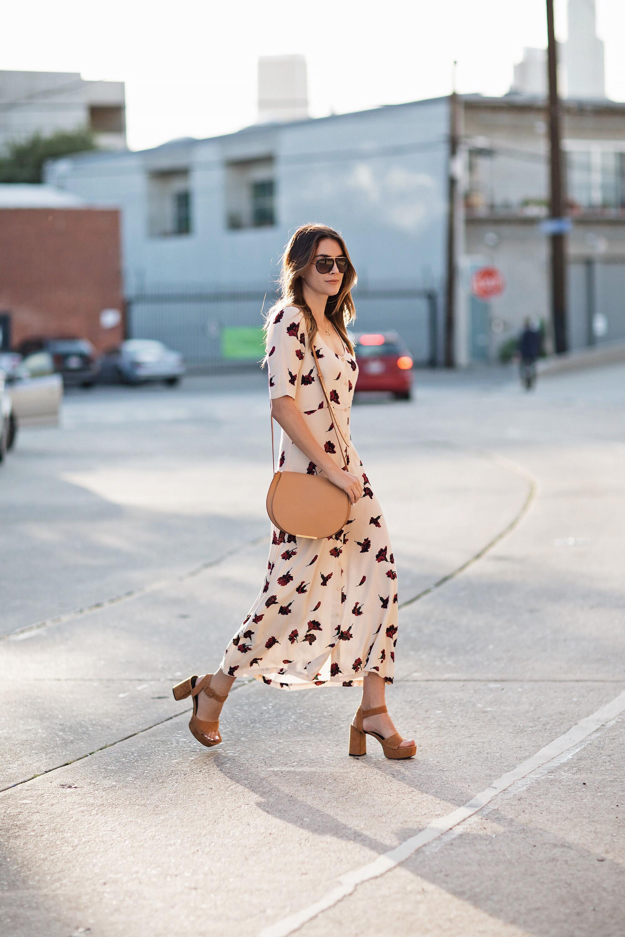 Ganni Floral Dress Platform Sandals