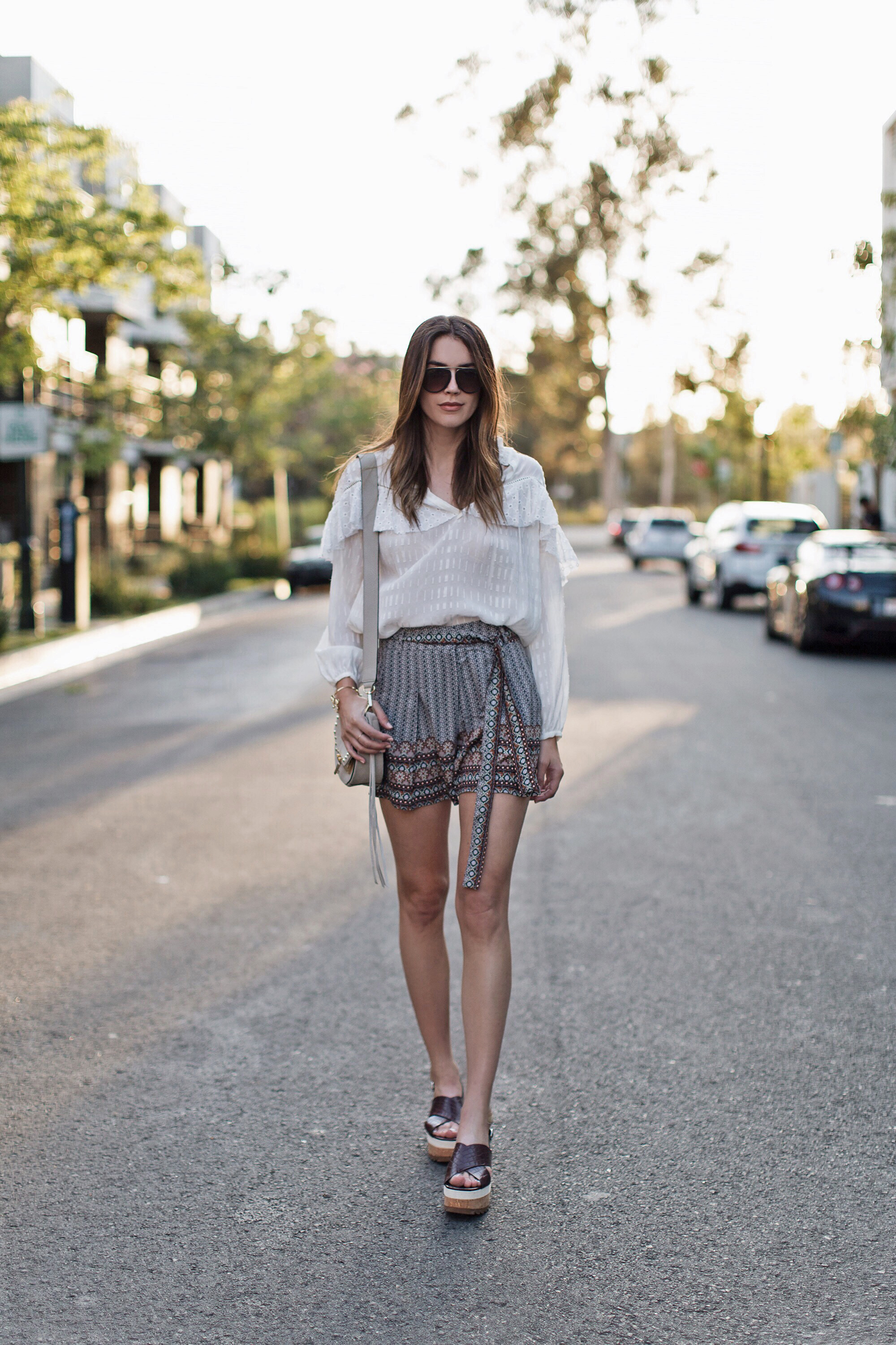 Tie Shorts Ruffled Blouse Flatform Sandals