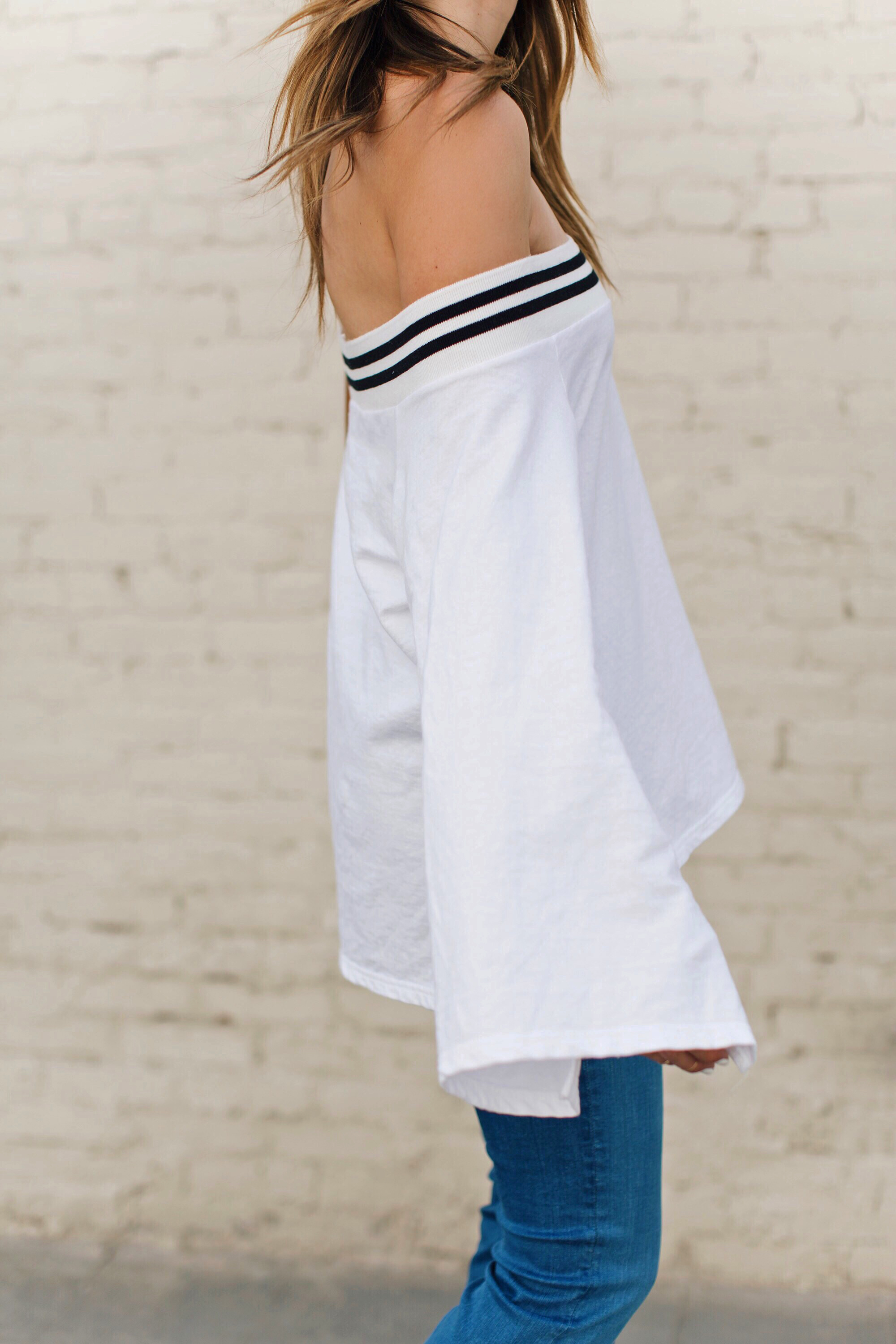 Bell Sleeves Sporty Stripes