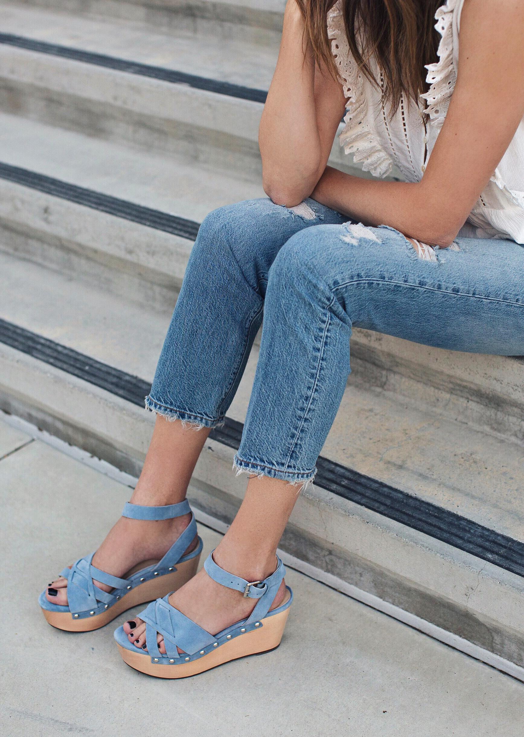 Blue Platform Sandals