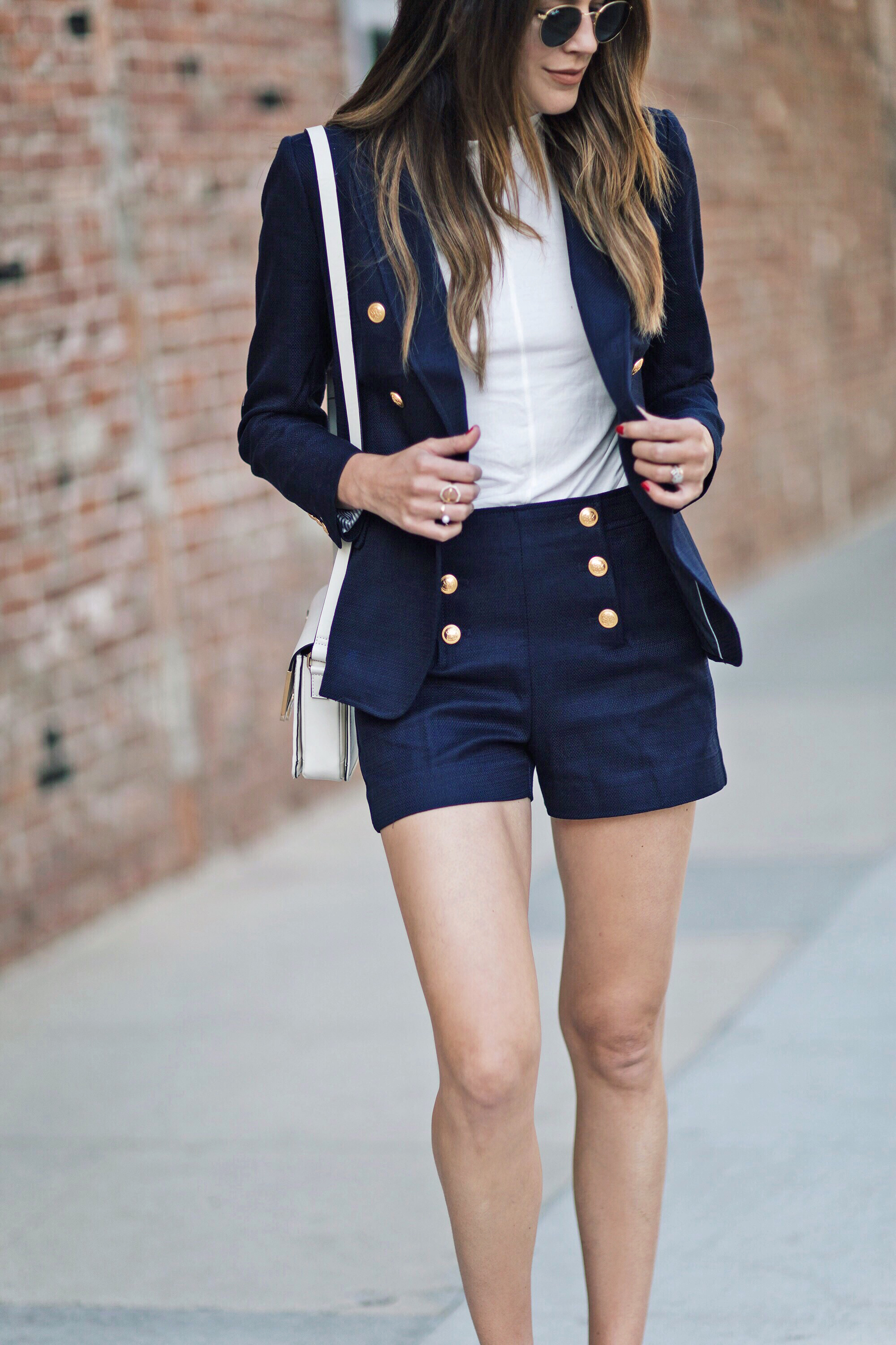 Gold Sailor Button Shorts