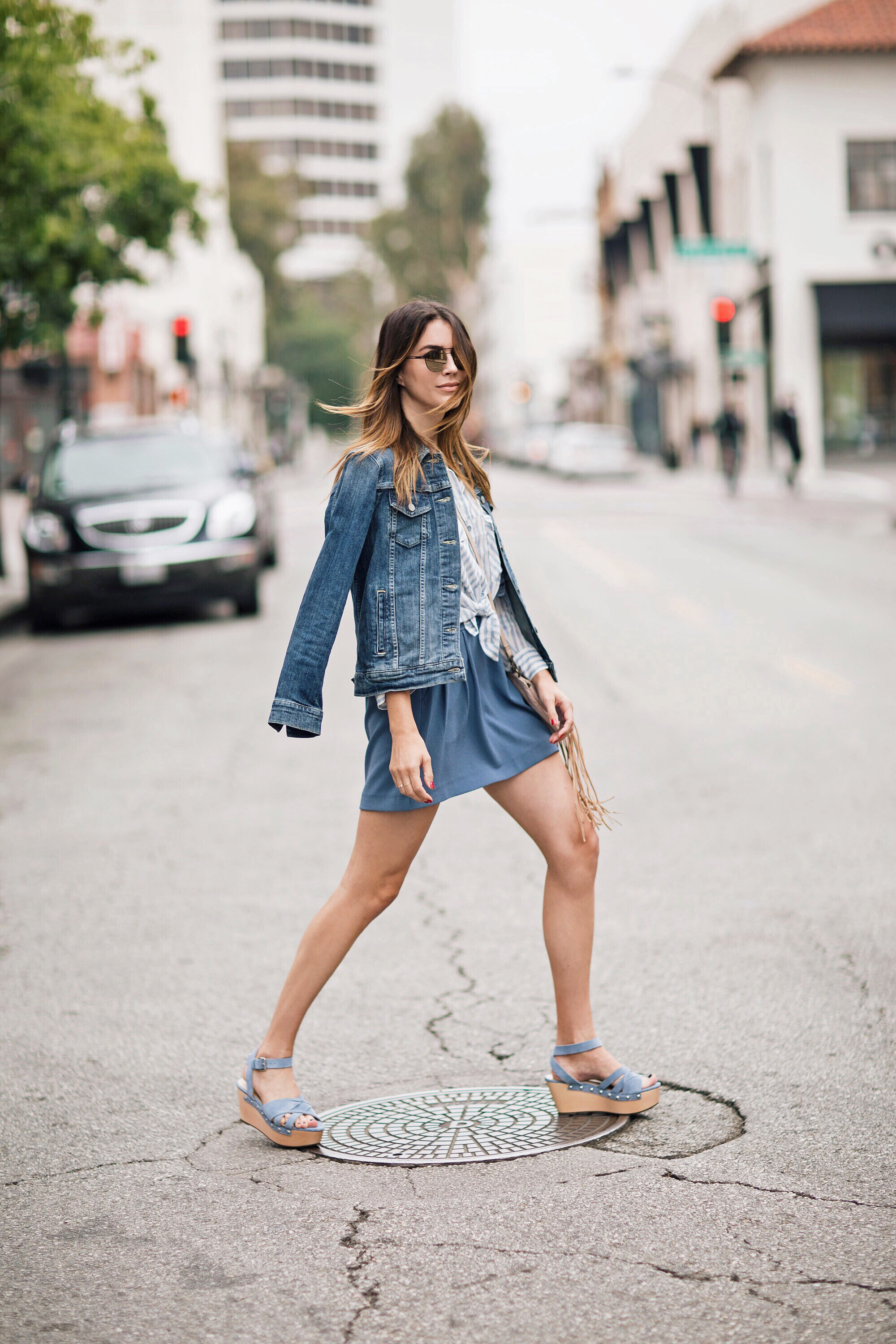 Jean Jacket and Flatform Sandals Style Blogger