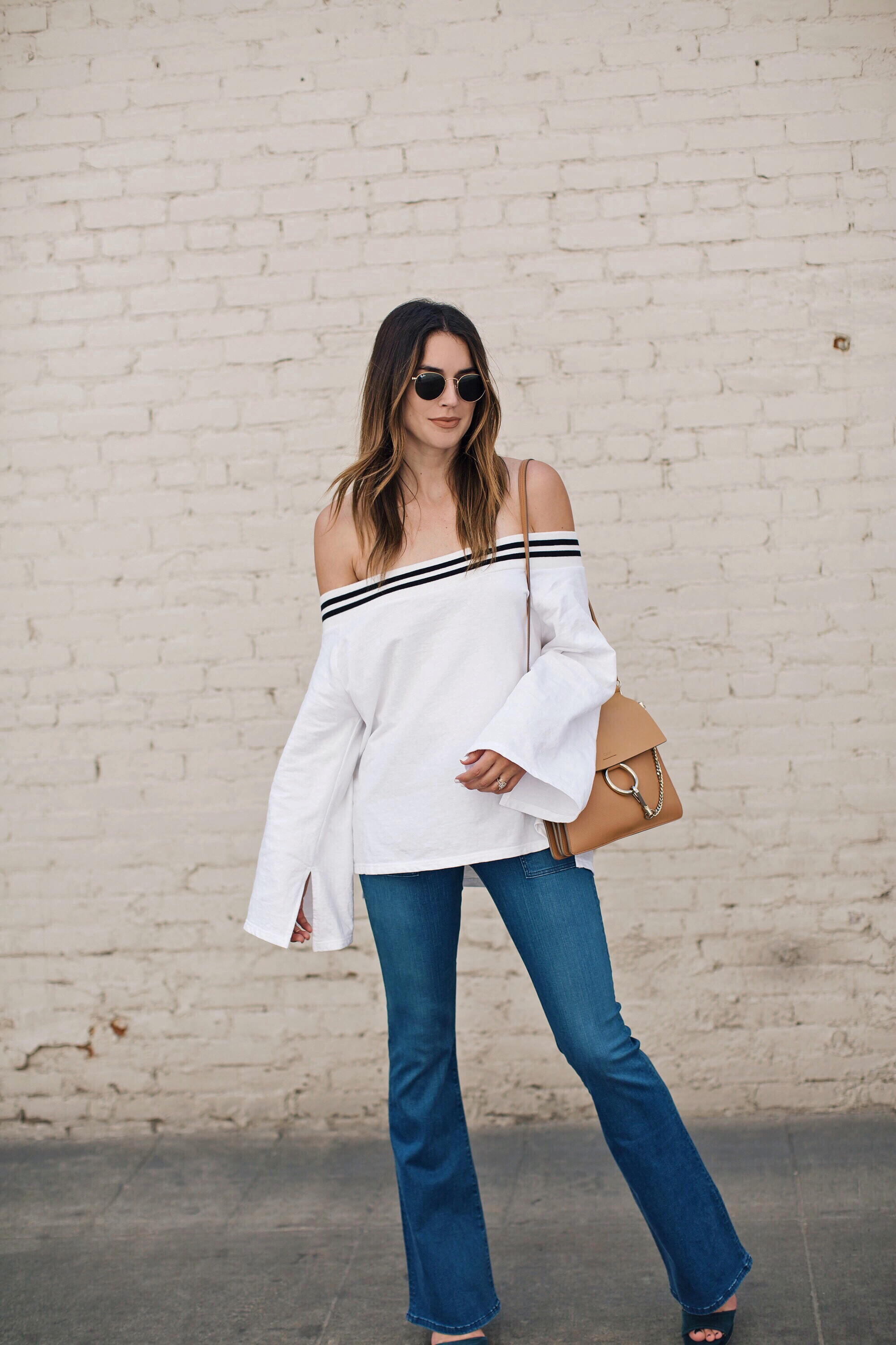 Off the Shoulder Bell Sleeves Flare Jeans 3x1