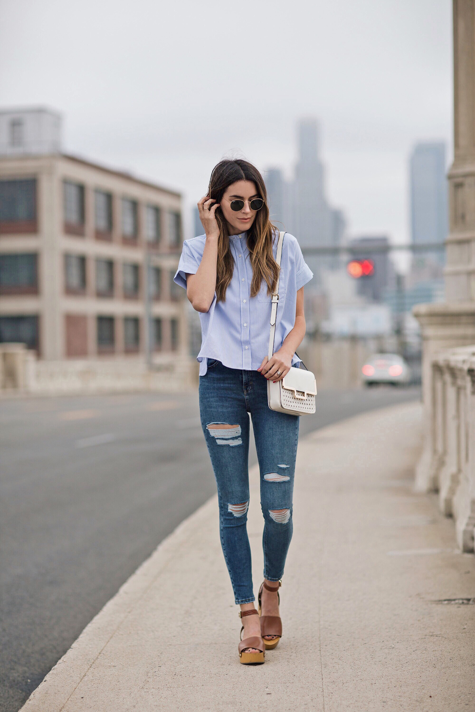 Ripped Jeans Topshop High Waisted Wooden Heel Sandals