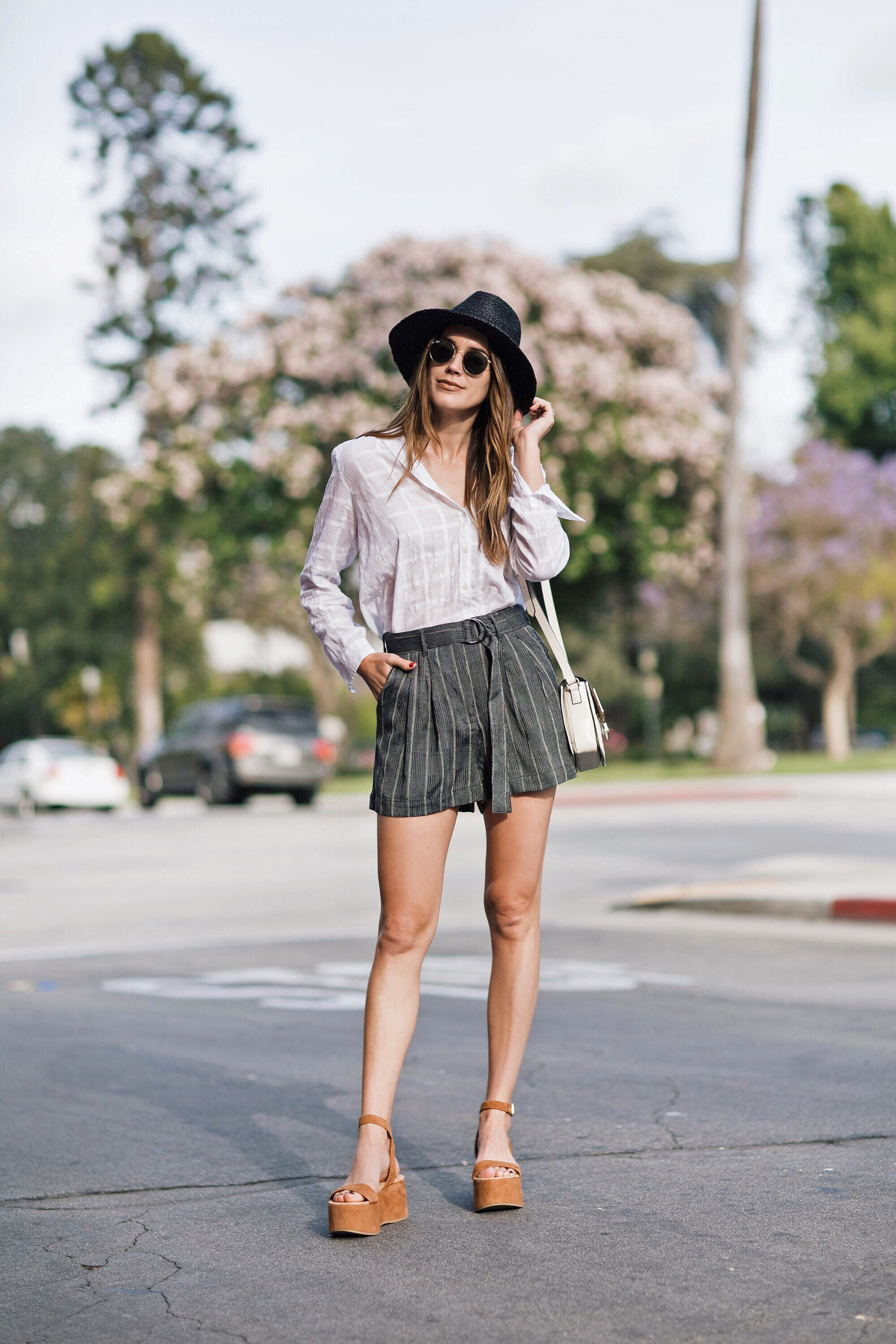 Topshop Shorts Black Straw Hat