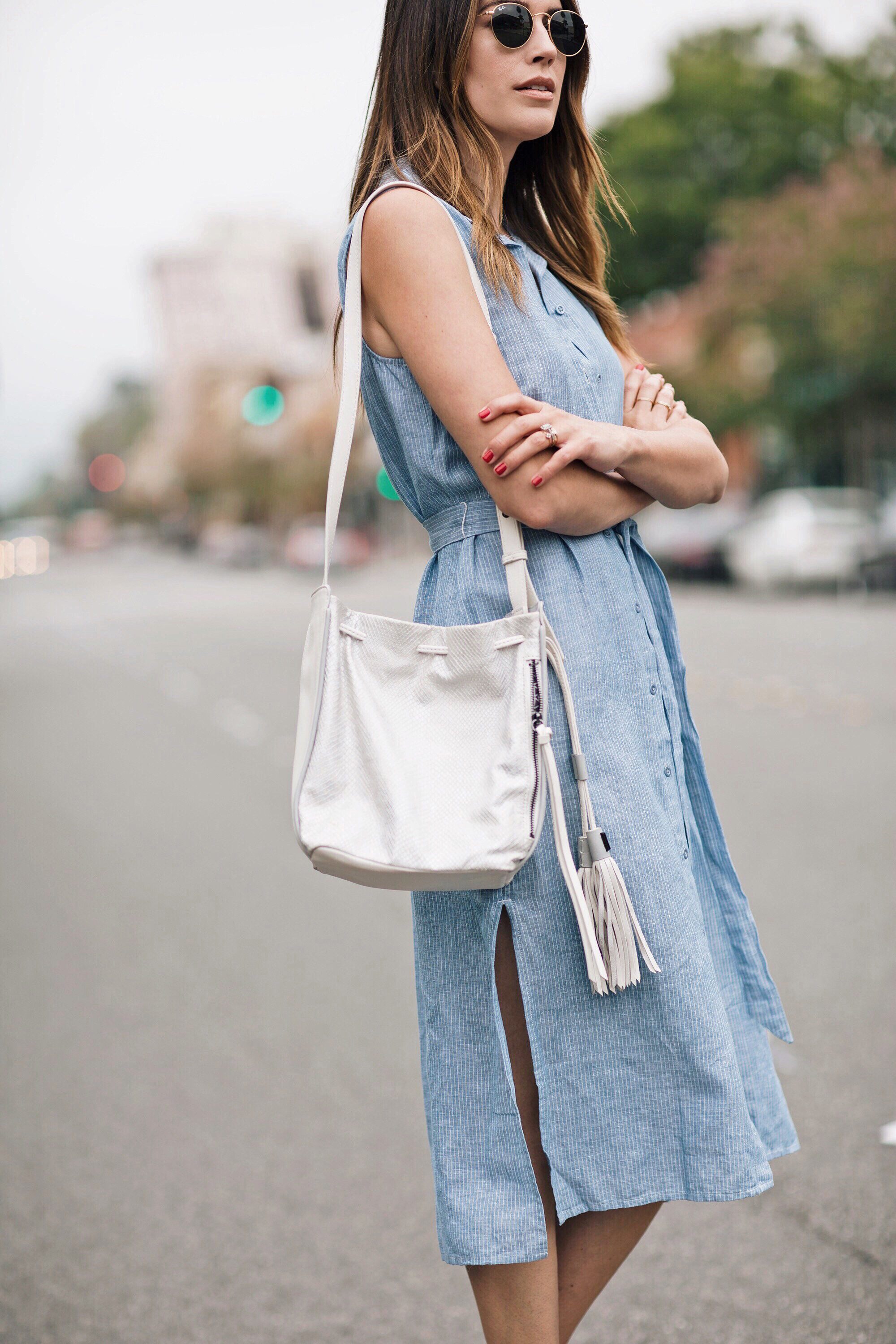 White Leather Bucket Bag Blogger Style