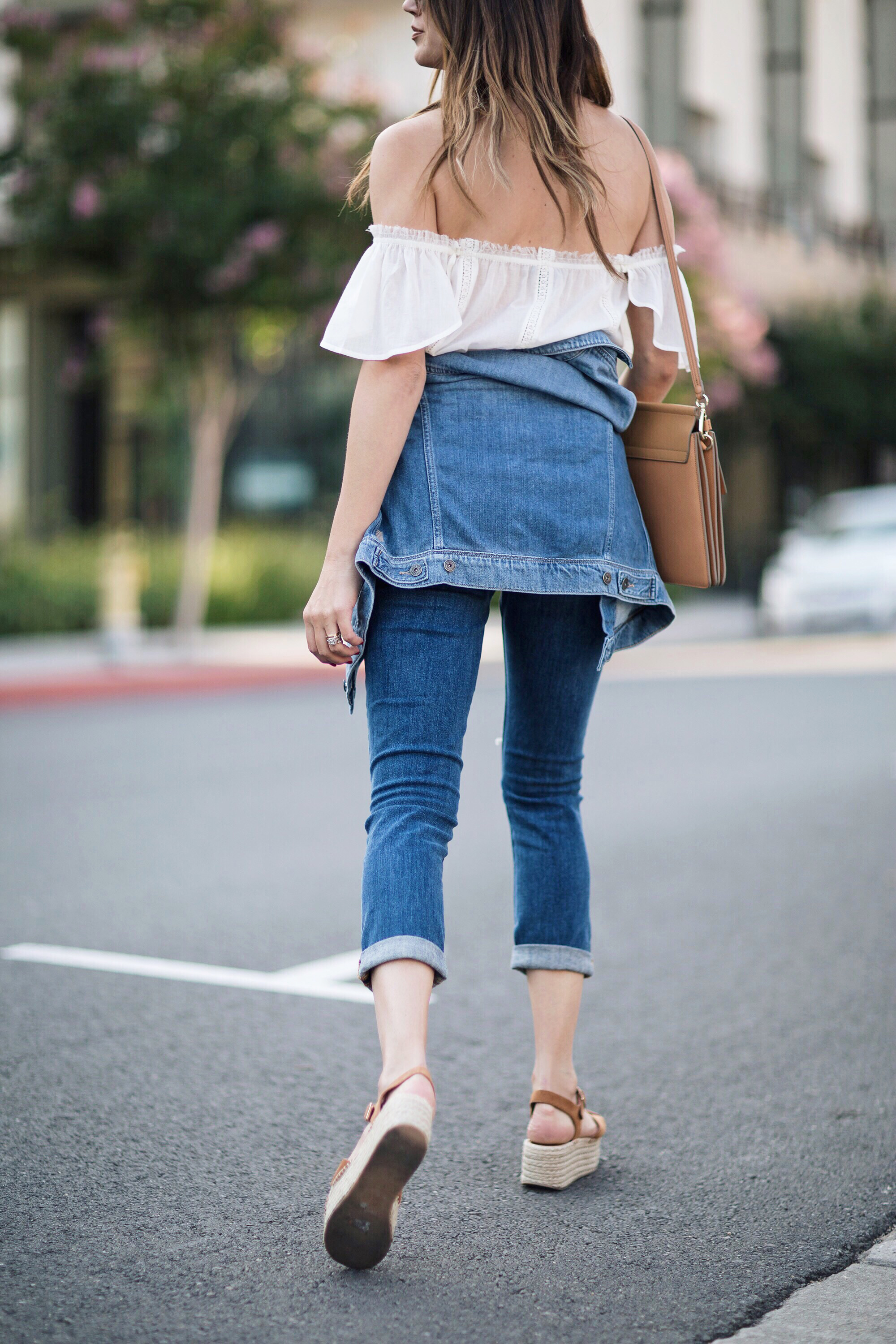 Jean Jacket Tied Around Waist