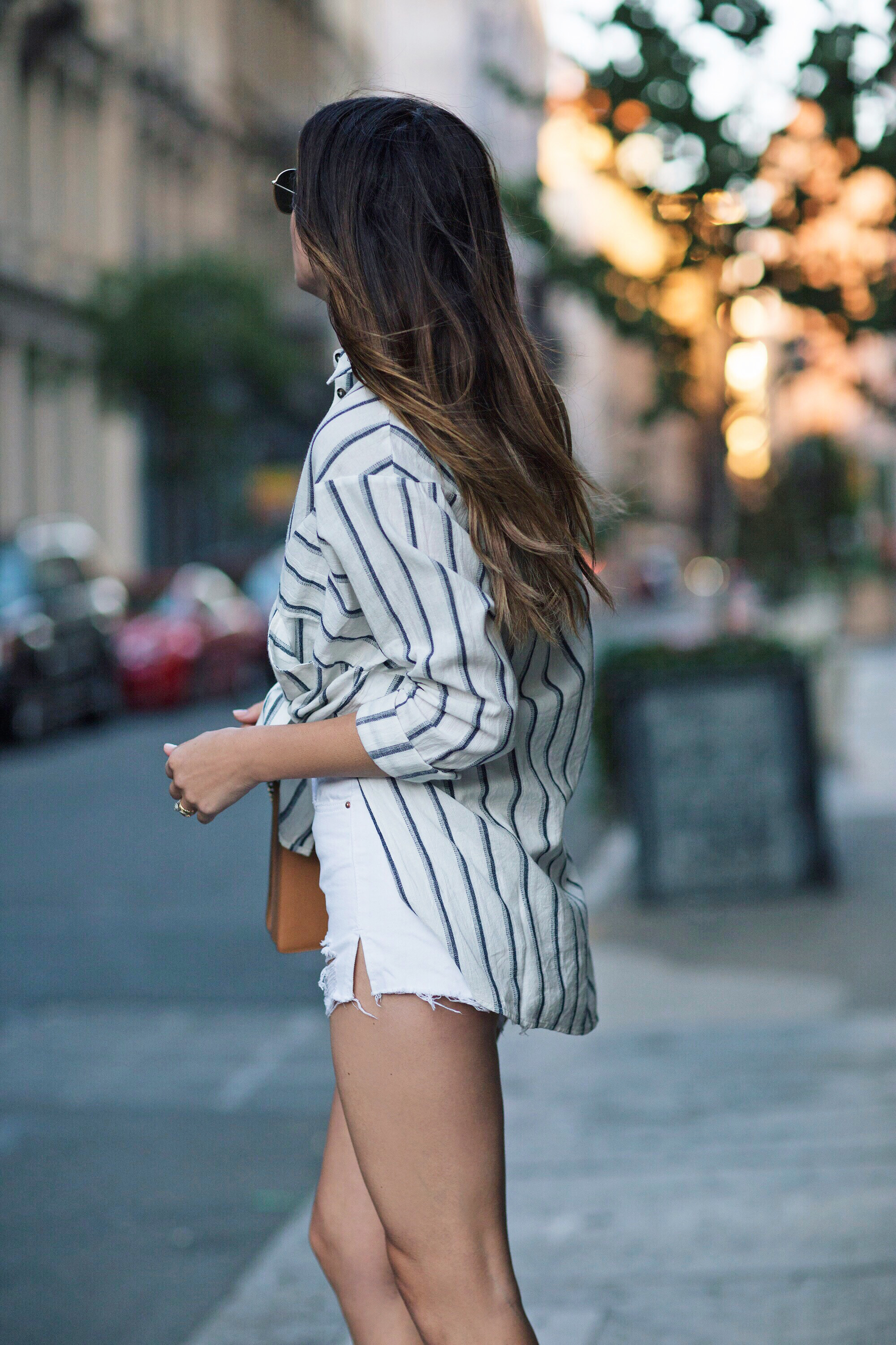 Linen Striped White Blouse