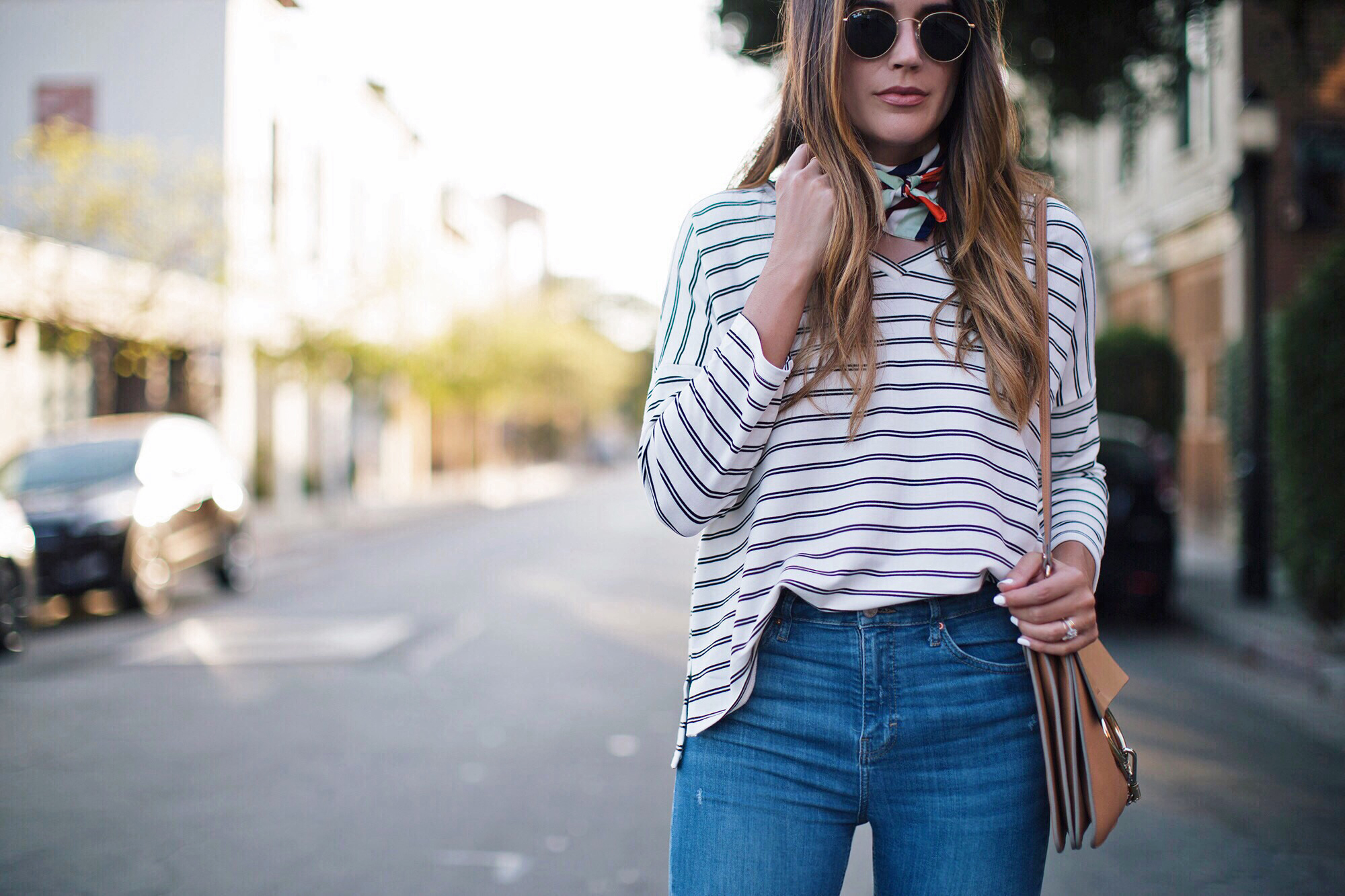 Striped Blouse Simple Retro