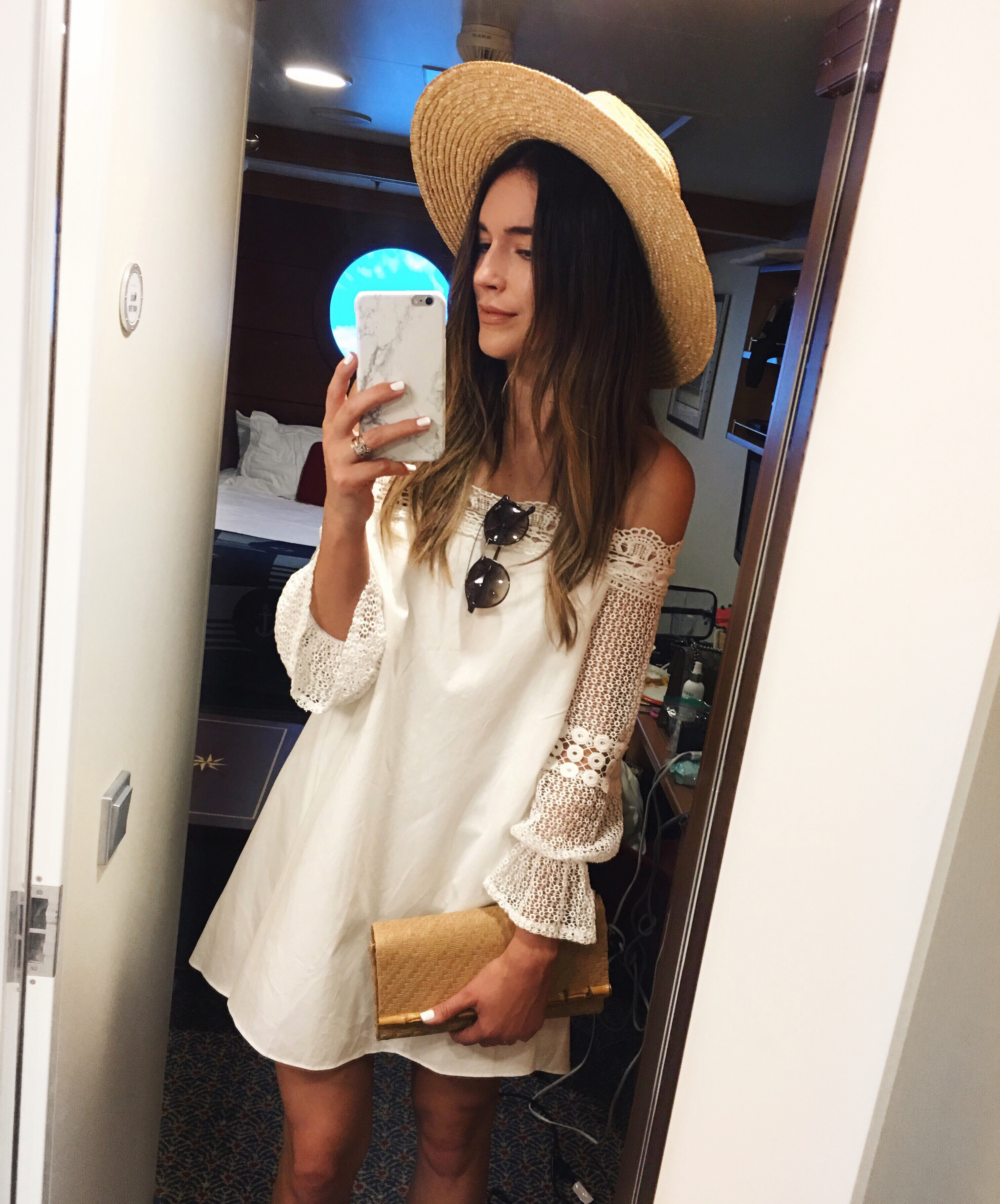 White Lace Dress Vacation Style Blogger
