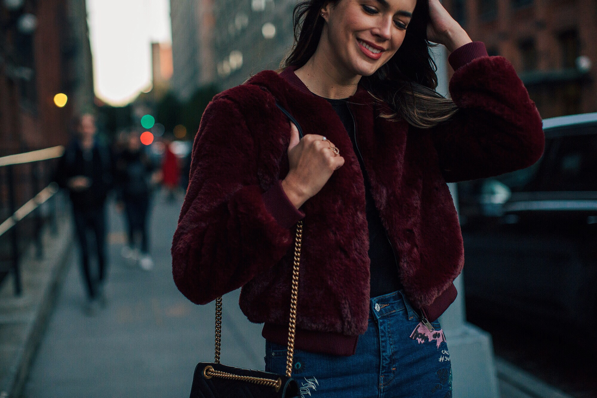 Wine Colored Bomber Jacket