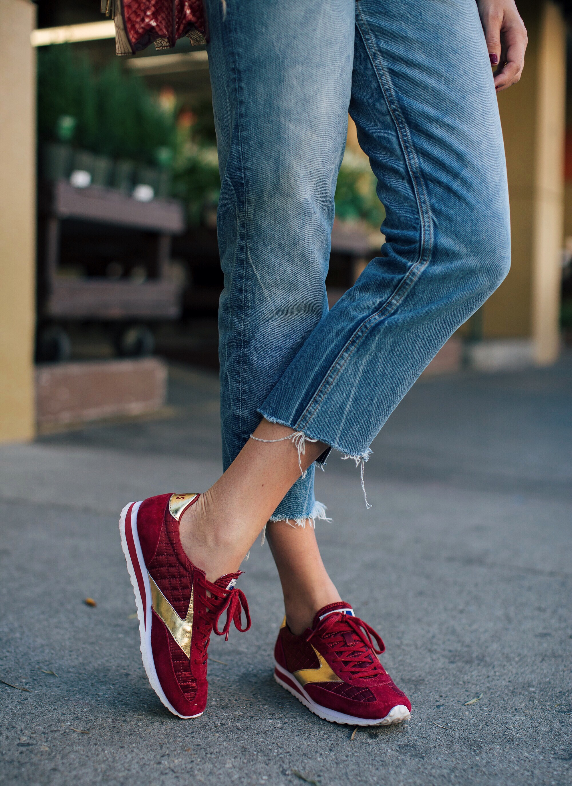 Red and Gold Brooks Sneakers