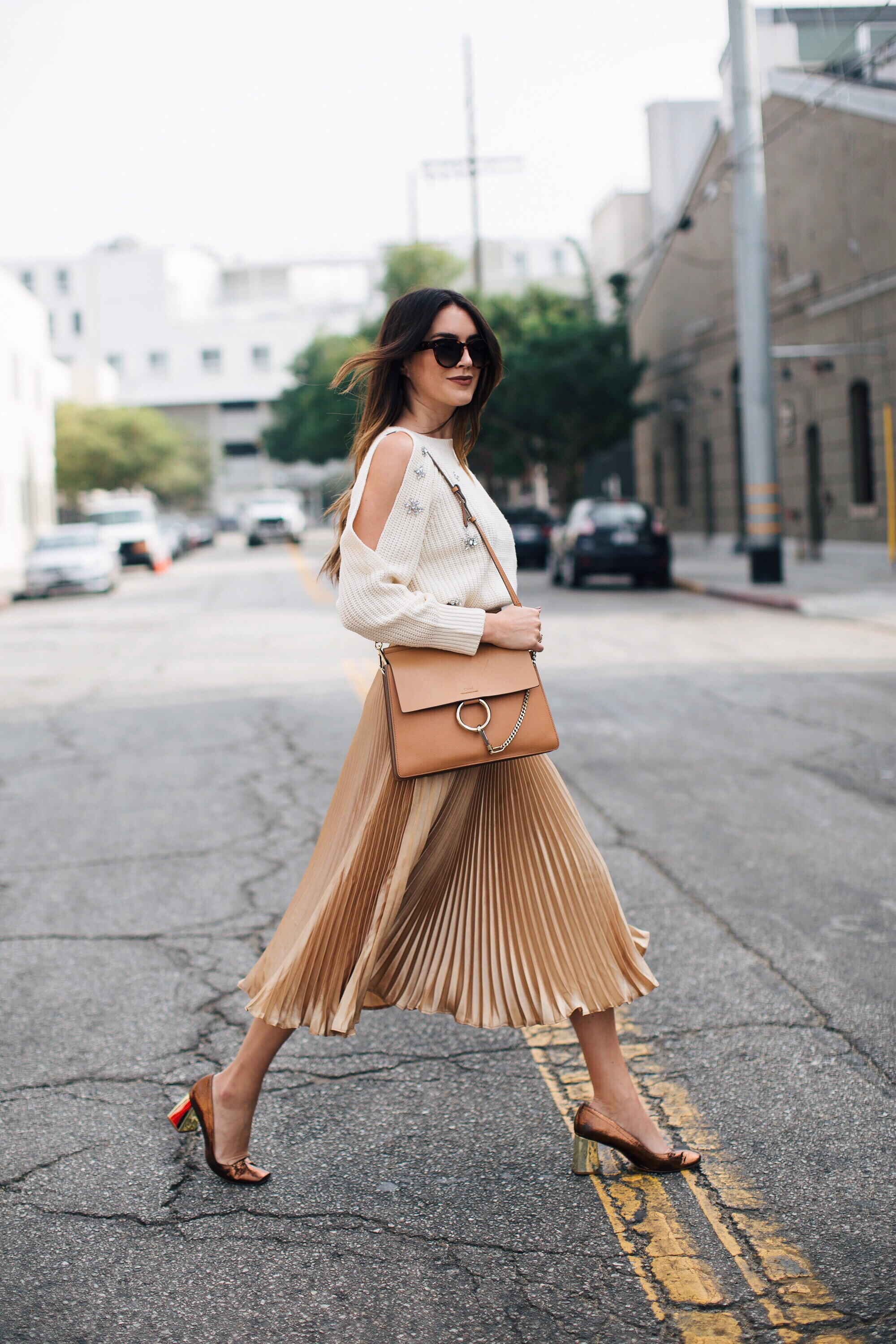 Gold Pleated Skirt Brittany Xavier