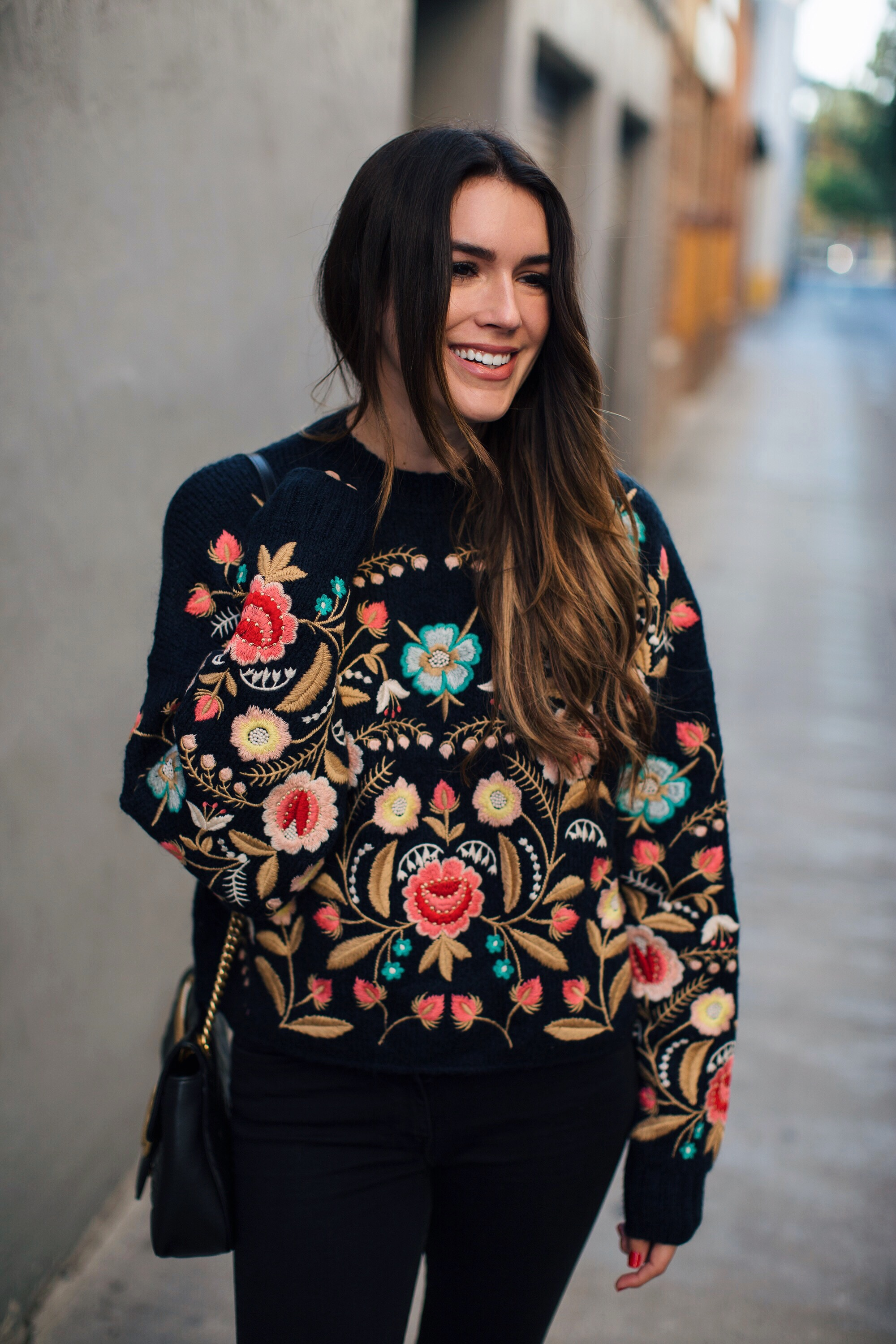 Zara embroidered Floral Sweater