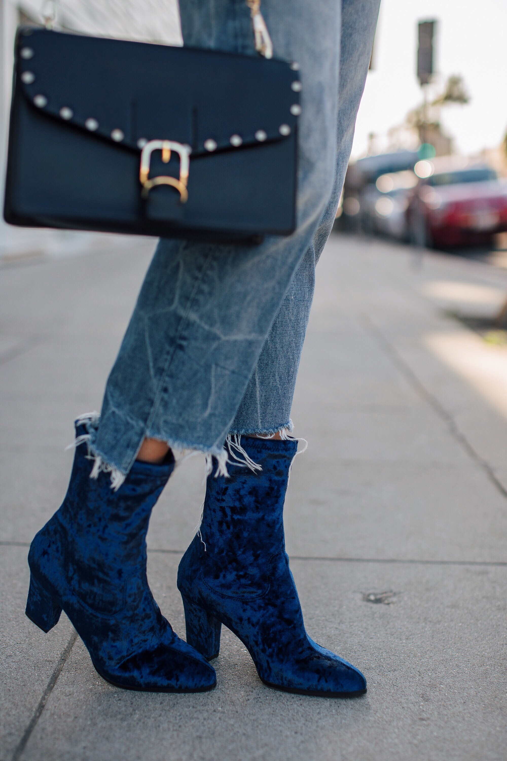 Blue Velvet Ankle Booties