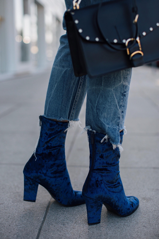 Blue Velvet Ankle Booties Brittany Xavier