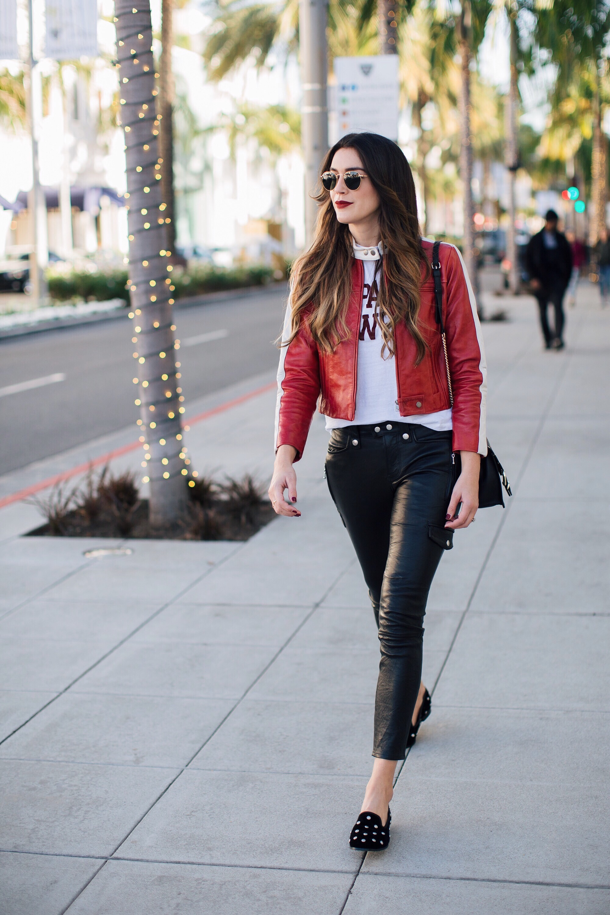 Frame denim red leather jacket