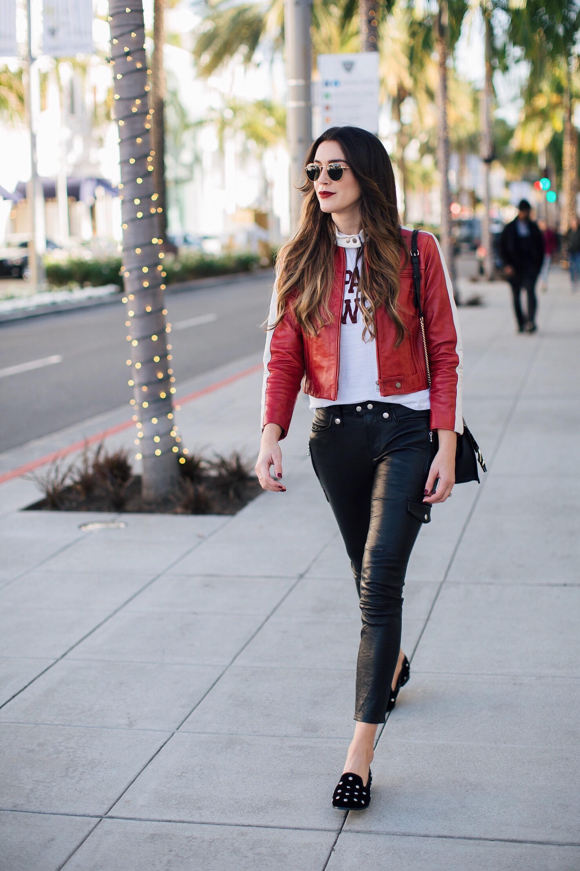Frame denim red leather jacket