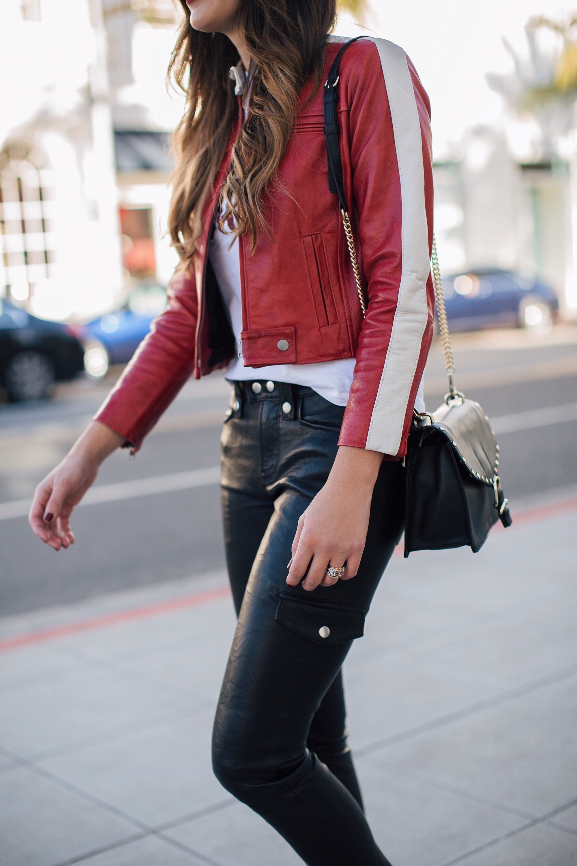 Red Leather Jacket Brittany xavier